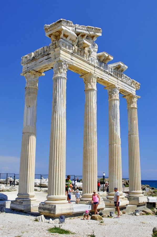 The impressive ruins of the Temple of Apollo facing the open sea in the coastal city of Side, east of Antalya. ..Turkey