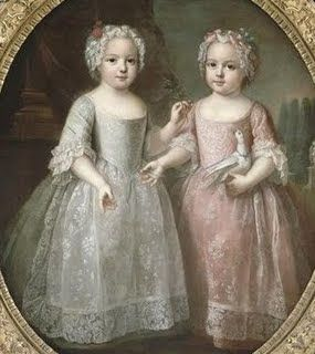 Marie Louise Elisabeth, later to become the Duchess of Parma and Princess Anne Henriette, daughters of Louis XV and Marie Leszczynska.