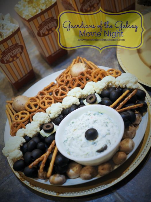 Guardians of the Galaxy Movie Night {Rocket Raccoon Veggie Tray, Baby Groot Cupcakes and Gift Ideas}