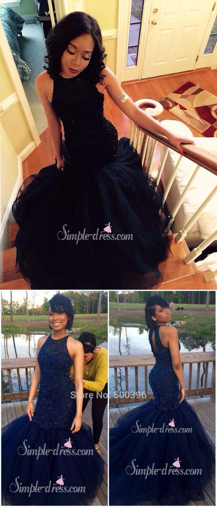 black mermaid prom dress 2016, long prom dress, evening dress