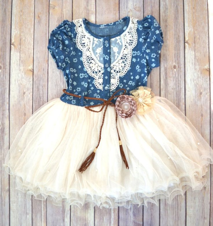 Girls Denim Tutu Dress, Flower Girl Dress,  Western Dress, cowgirl dress, Country wedding