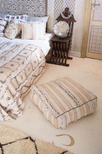 Moroccan Wedding Blanket Pouf from M.Montague