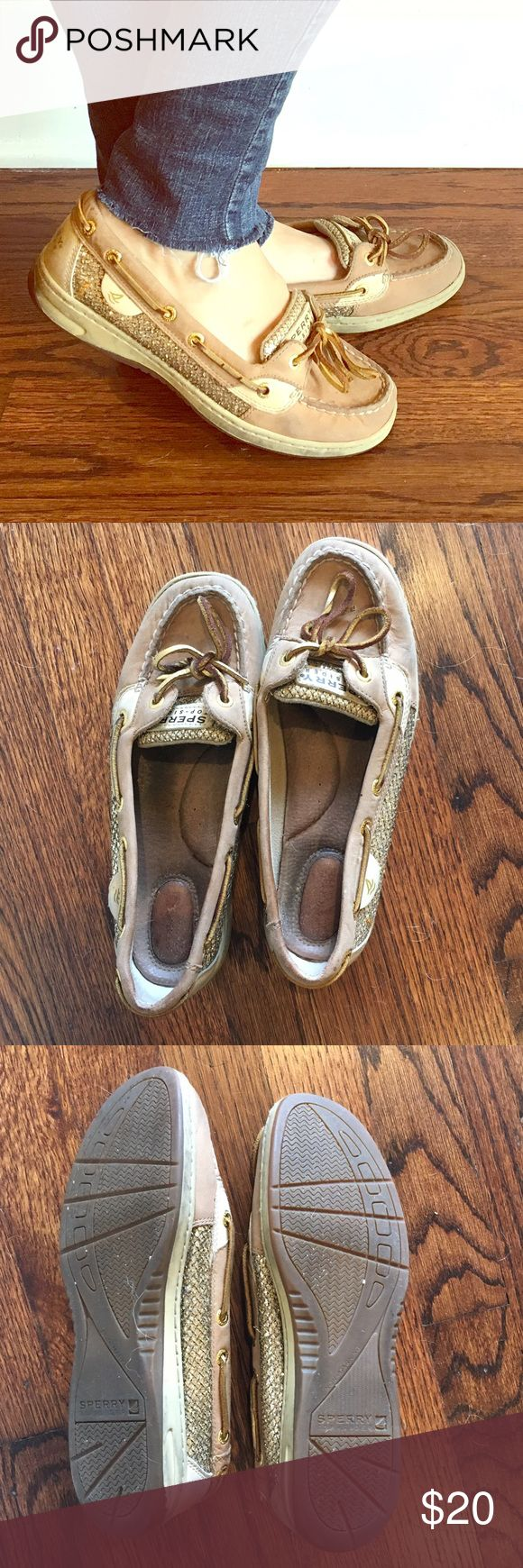 Black Fri Sale!! Sperry Top Siders Gold Glitter! Glitter gold Sperrys. Some wear on inside but tons of life left! Sperry Top-Sider Shoes