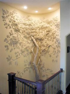 Tom Moberg | Artist Portfolio | Moberg Gallery... believe he uses an actual tree... encased in drywall mud ... and sculpts the rest of the bas relief using dry wall mud... and maybe sometimes plaster.