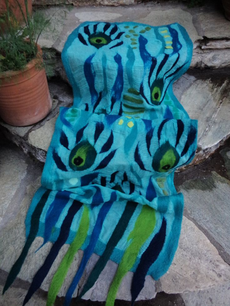 "Nuno felted scarf ""Peacock"" Turquoise and green OOAK art to wear Summer wrap Eco fashion by SalkimiCreations on Etsy"