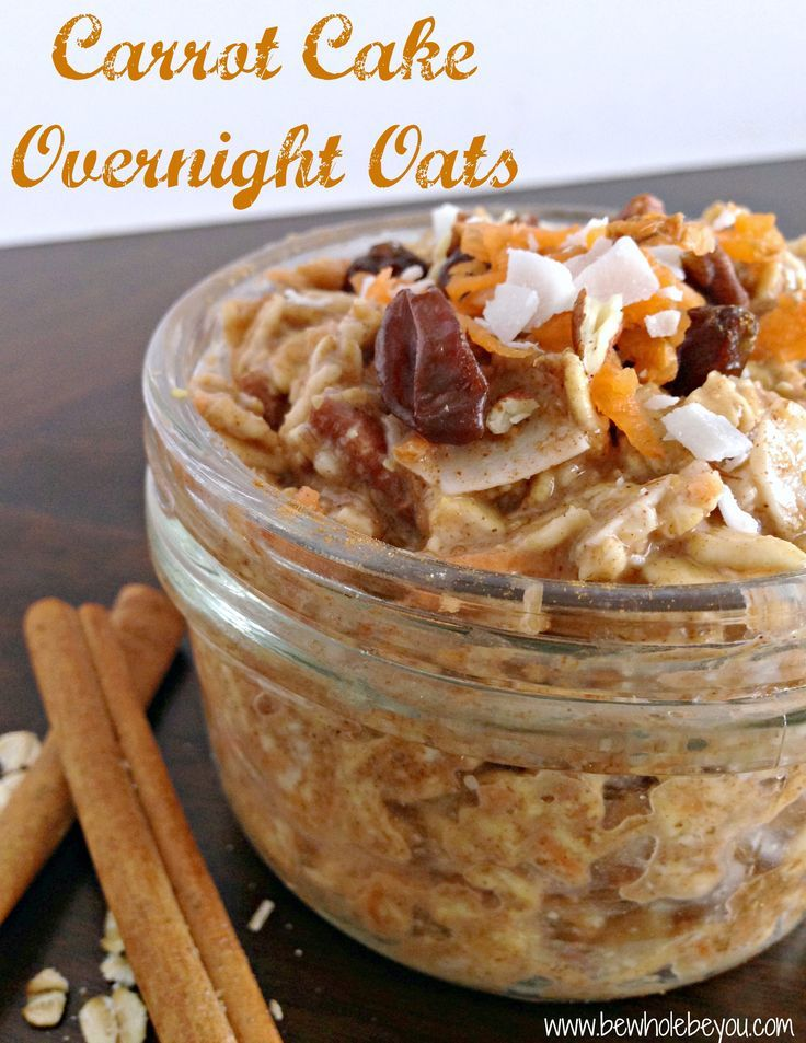 Carrot Cake Overnight Oats. Have your cake and eat it too...for breakfast! No refined sugars and packed with fiber and protein. #vegan #glutenfree #dairyfree