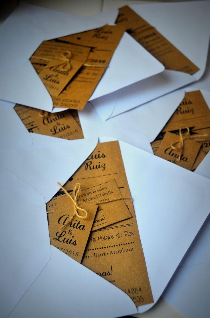 Invitación Kraft con Sobre 11x16 #Invitaciones #Casamiento #PapelMadera #Kraft #Bodas #Diseñografico #Papeleria #WeddingPlanner #Organizaciondeeventos