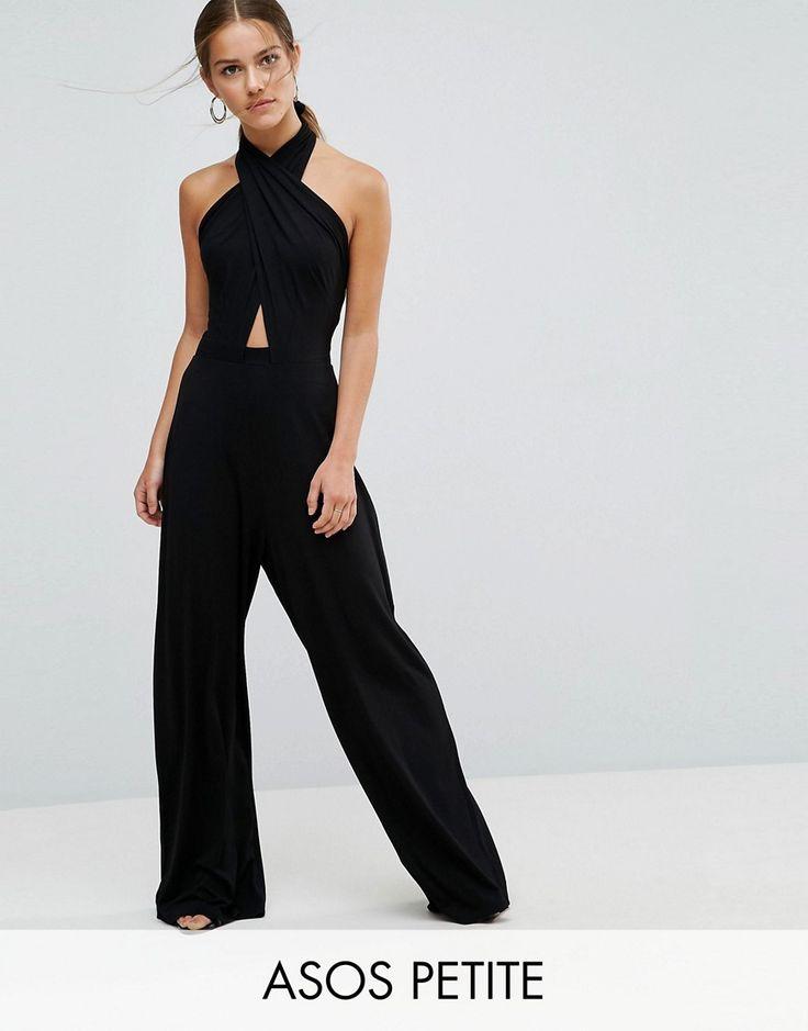 ASOS PETITE Cross Front Jumpsuit with Super Wide Leg - Black