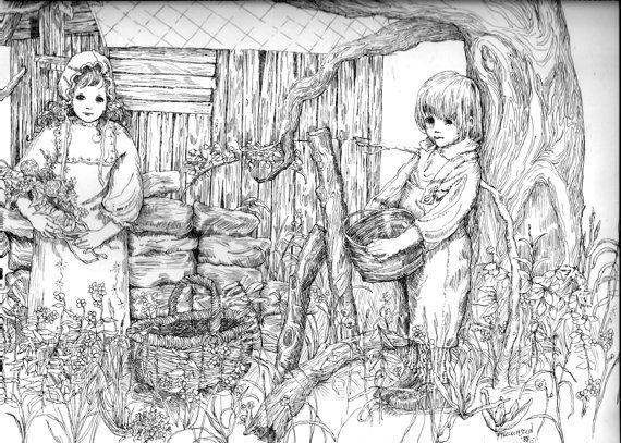 PAGINA da colorare per adulti, adolescenti, bambini, Instant Download digitale per stampare e a colori, stampa della mia penna originale & disegno, grazioso paese di inchiostro bambini