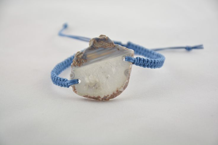 """Bungalow"" Bracelet, 6-strand, waxed cotton cord, double square knotted with large blue geode focal element. Handmade, all-natural jewelry made with ancient macrame technique and inspired by the beaches of Sarasota. See more colors and styles at www.theknottedstone.com"