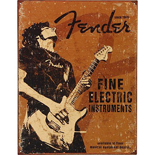Fender - Rock On Tin Sign 16 x 13in