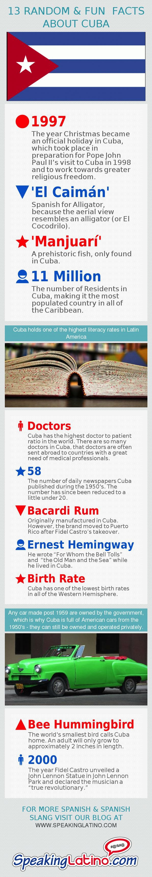#Infographic: 13 Random Fun Facts About Cuba | A list of random fun facts about Cuba that you may not know. Cuba has plenty of other interesting facts that have nothing to do with the Castro family or a tumultuous political past. #Cuba via http://www.speakinglatino.com/13-random-fun-facts-about-cuba/: