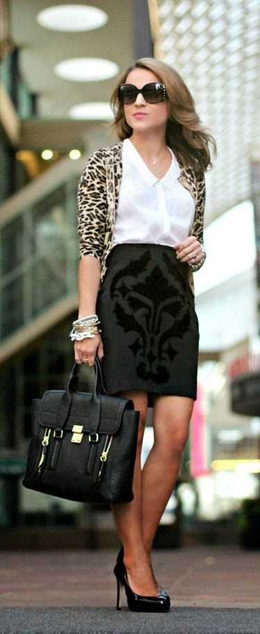 Lepord Cardi with Black Mini Skirt and Pumps | Chi...  | Fashion for women