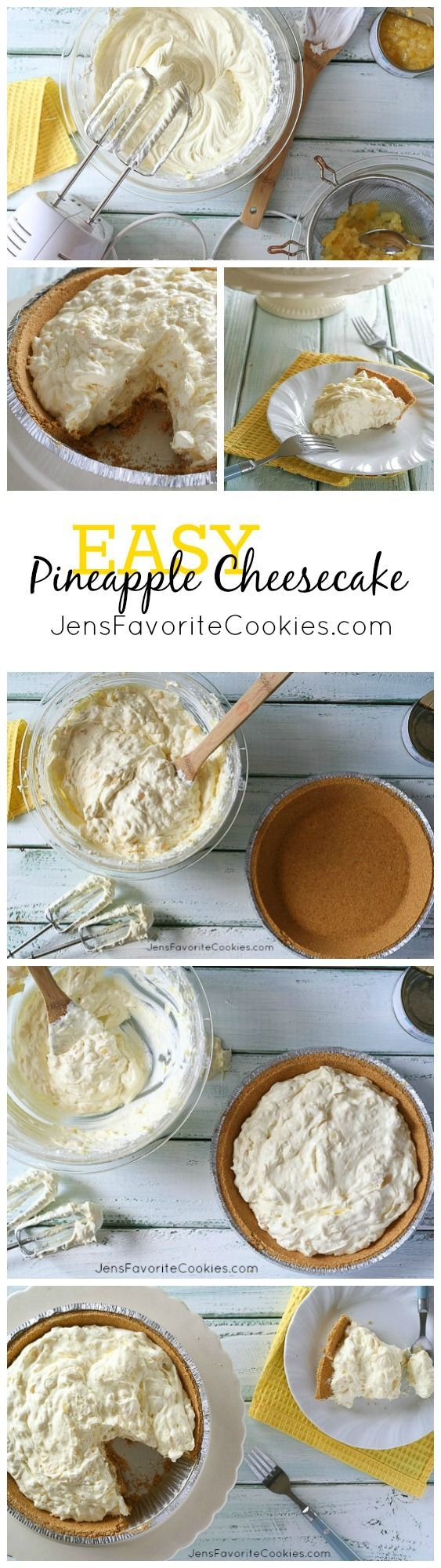 EASY No-Bake Pineapple Cheesecake from JensFavoriteCookies.com