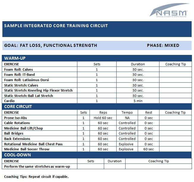 Exercise Programs: Nasm Opt Exercise Programs