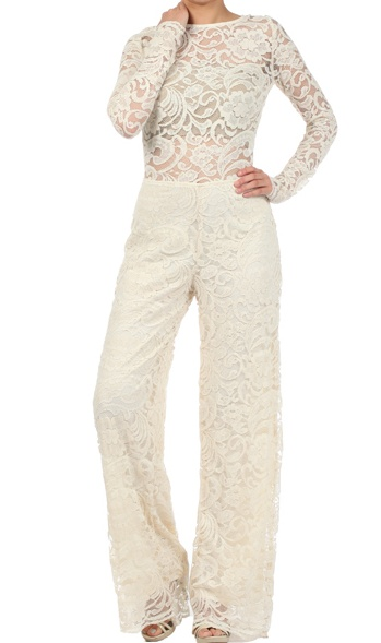 Available on www.lovingme365nyc.com Full length lace sleeve jumpsuit with boat neckline. back cutout featurebutton and zipper enclosure [S]=5-7 [M]=8-10 [L]=12-14