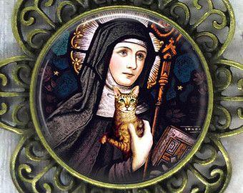 Sainte GERTRUDE de Nivelles & CAT Art PRINT de par thatsmycat