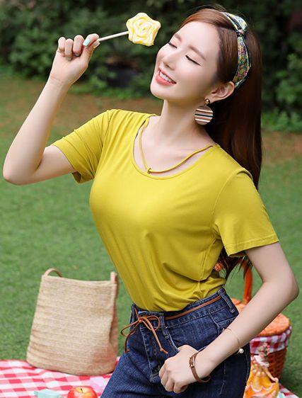StyleOnme_Strap Neckline Detail Modal T-Shirt #yellow #tee #strap #koreanfashion #kstyle #kfashion #summertrend