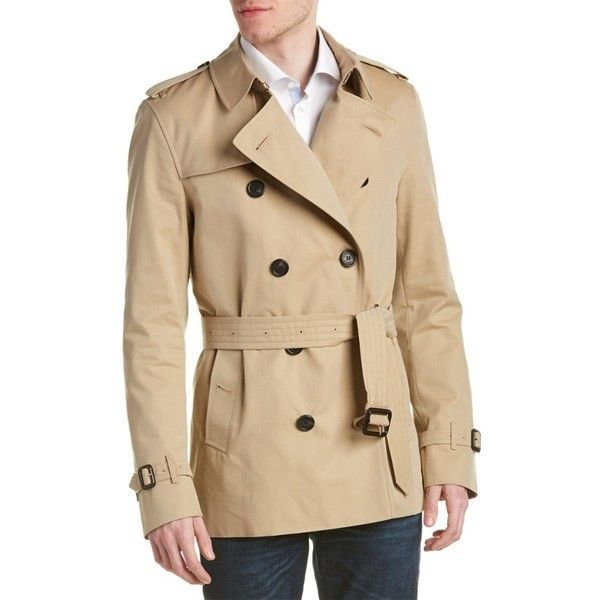 Burberry Burberry Kensington Short Heritage Trench Coat ($1,401) ❤ liked on Polyvore featuring men's fashion, men's clothing, men's outerwear, men's coats, yellow, mens trench coat, mens short trench coat and burberry mens coat