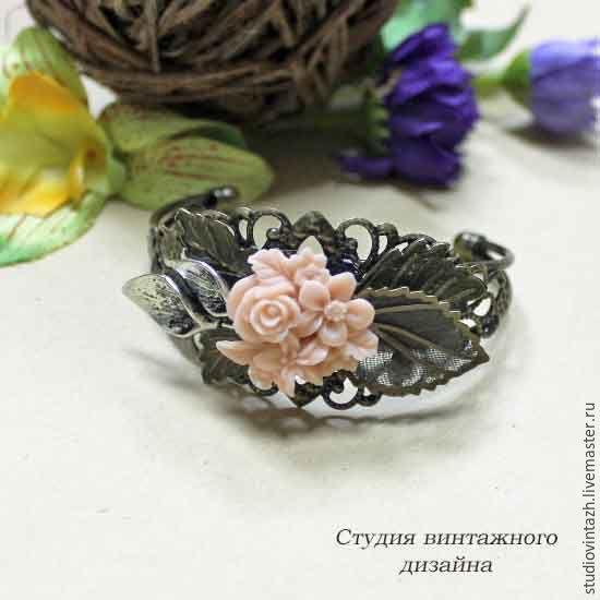 """Купить Браслет """"Бутоньерка"""" - бронзовый цвет, винтажный стиль, винтаж, браслет, Браслет ручной работы"""