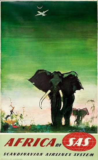 Africa By SAS (Scandinavian Airlines System) classic vintage travel promotional poster