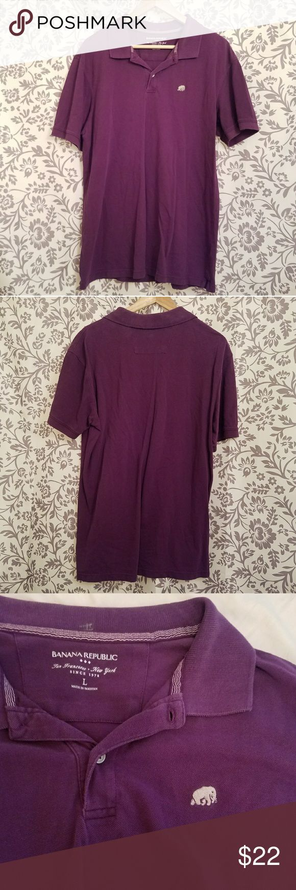 Super cute vivid purple Polo shirt 💜 Adorable Banana Republic purple Polo, 100% cotton, size L.  This colour would look great on anyone!  namasteツ Banana Republic Shirts Polos