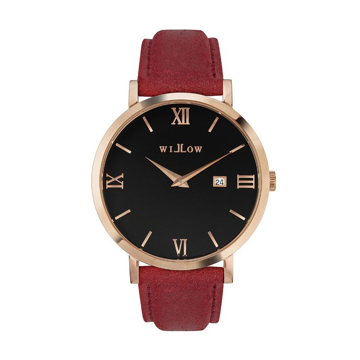 Roma Rose Gold Watch & Interchangeable Red Leather Strap.