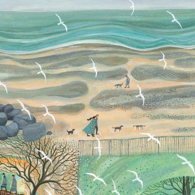 'Strollers' by painter Dee Nickerson . Blank Art Cards By Green Pebble. www.greenpebble.co.uk/shop/cards/strollers