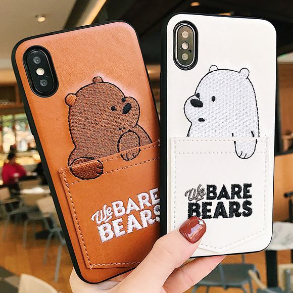 wir bare bears leder phone cases f r iphone x 6 6s 7 8. Black Bedroom Furniture Sets. Home Design Ideas