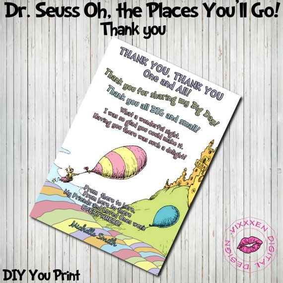 DR. SEUSS Oh The Places Youll Go Girl Boy Thank You Card