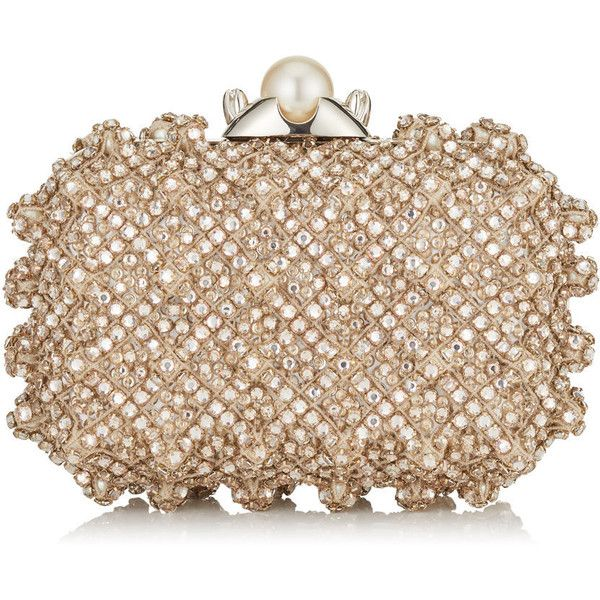 Pearl Satin Clutch Bag with Crystal Bead Embroidery CLOUD (£2,840) ❤ liked on Polyvore featuring bags, handbags, clutches, purses, beige handbags, beige purse, pearl clutches, hand bags and embroidered handbags