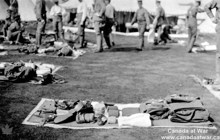 Soldier's Kit - A photograph of a soldier's kit taken by Captain W.C. Merston in 1914. Canadian soldiers carried similar equipment to British Tommies, although the cap badges and shoulder bars read