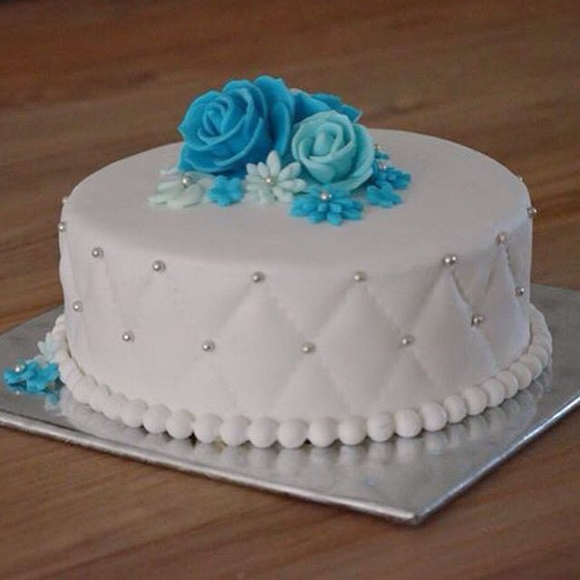 Duck Egg Blue Quilted Birthday Cake