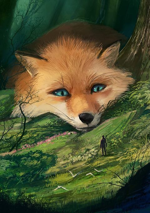 A gigantic fox that strays around a mystical forest, despite its size its steps are nearly silent and he loves watching visitors wander in awe through the lush green landscae, usually without revealing himself