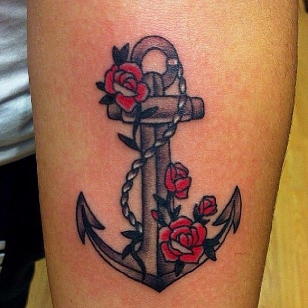 Anchor and rose tattoos anchor rose color arm tattoo for Black anchor tattoo la