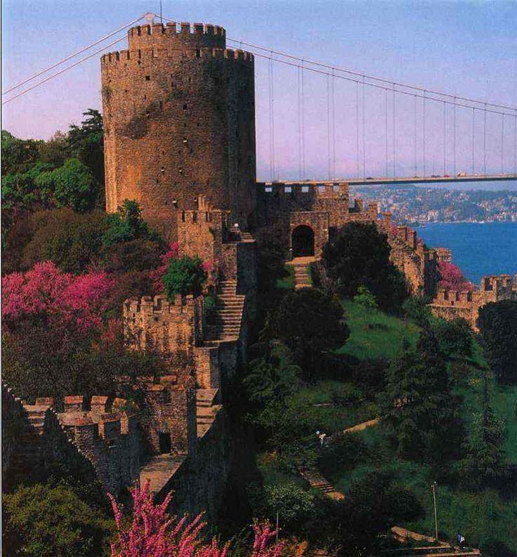 Rumeli Hisar castle ruins on the Bosphorus, Istanbul, Turkey