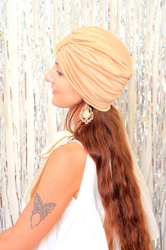 Women's turban in honey jersey knit. Handmade hair turbans by Mademoiselle Mermaid. https://www.etsy.com/listing/290428181/womens-turban-in-honey-jersey-knit