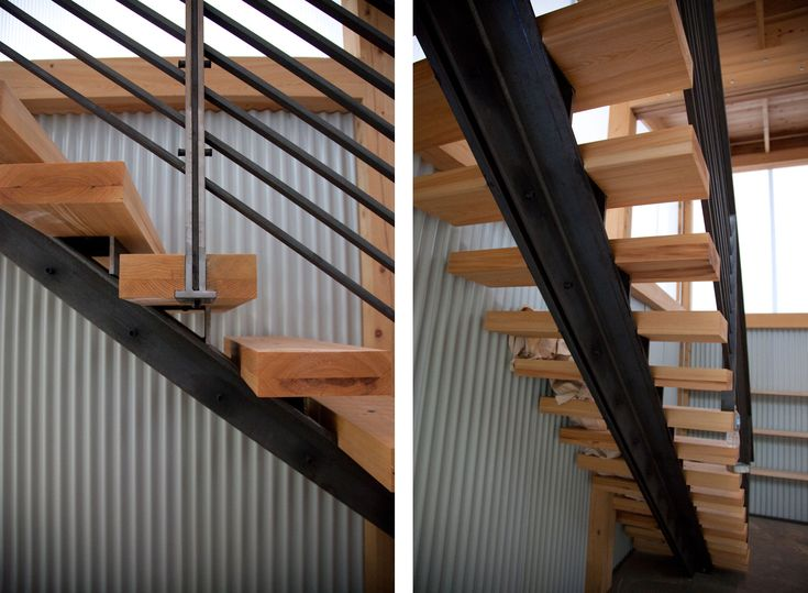 Metal staircase frame riveted to wooden stairs for Stairs window design exterior