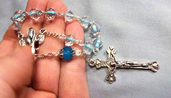 Finger Rosary Single Decade crystal rosary Rosary Hail Mary