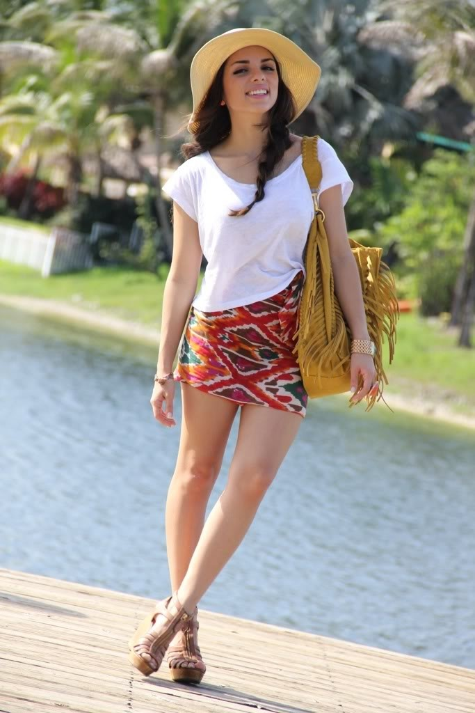 Cute summer outfit // tribal print skirt + white tee + straw hat | fashion u0026 style | Pinterest ...