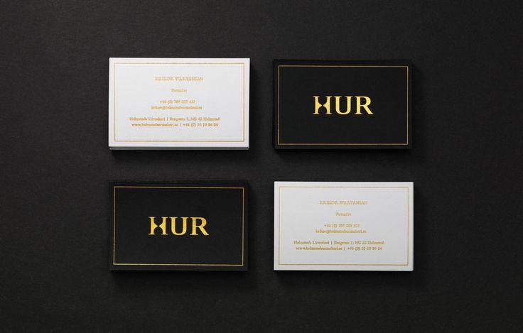 Business card, logotype and brand identity for Swedish watchmaker Halmstads Urmakeri with golden details — Visitkort, logotyp och grafisk profil för Halmstads Urmakeri med guld detaljer