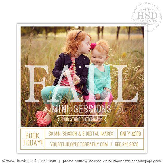 Fall Mini Session Template, Photography Marketing Templates, Marketing Board…
