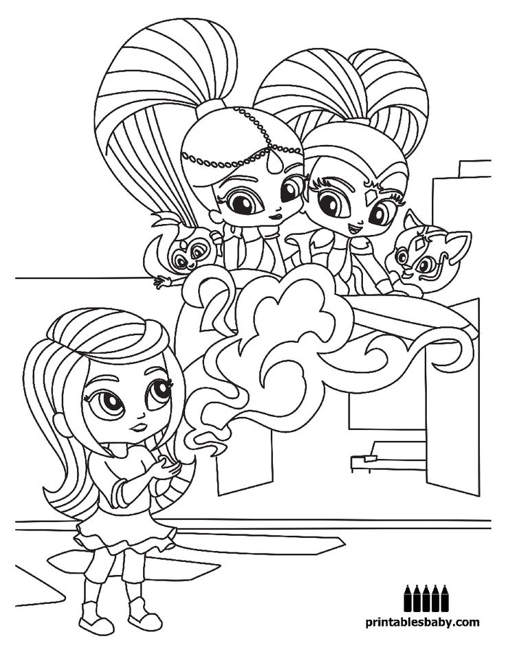 Shimmer And Shine Freebies Cartoon coloring pages Coloring pages Shimmer shine cake