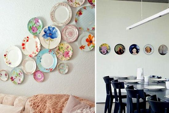 """plate displays -- love the """"flow"""" of mismatches plates up the wall --UTR Déco Blog"""