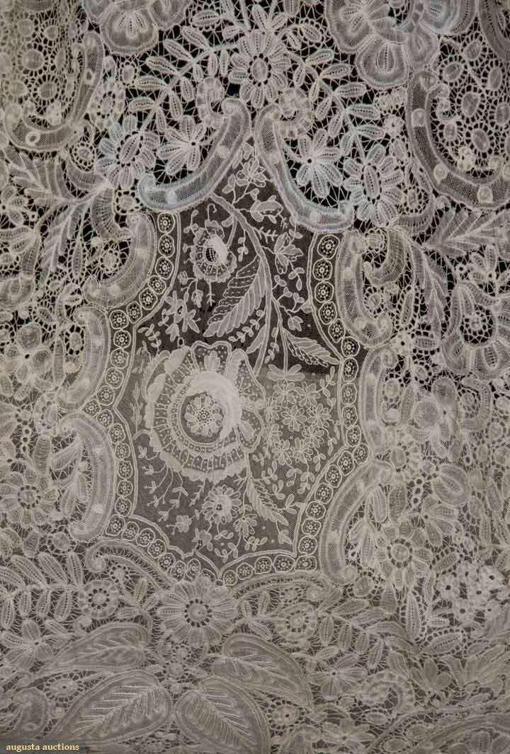 Handmade bobbin & Pt de Gaz needle lace c. 1860-1870, possibly a veil remade into wedding gown c. 1940
