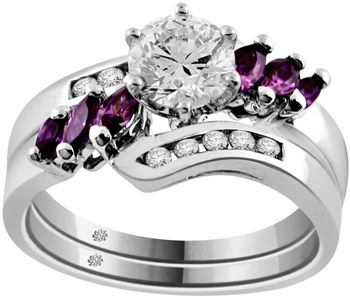 Its not a sapphire- but I liked it!! 1.06 Carat Flume Diamond & Amethyst 14Kt White Gold Engagement Ring