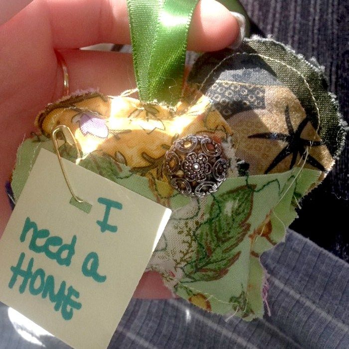 I found the heart hanging on a chair at Sierra college just now! #ifaqh #ifoundaquiltedheart