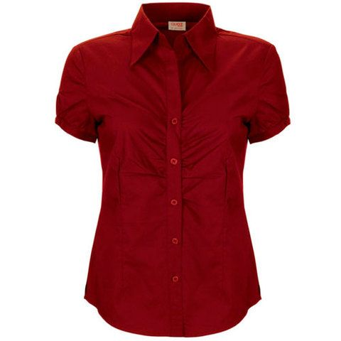 tailored fit, modern short sleeve womens shirt. 60% cotton 35% polyester 5% spandex. Cotton rich with spandex. Featured gathered bust detail. Ladies size  8 - 18. plain colours, black, red, sand , white