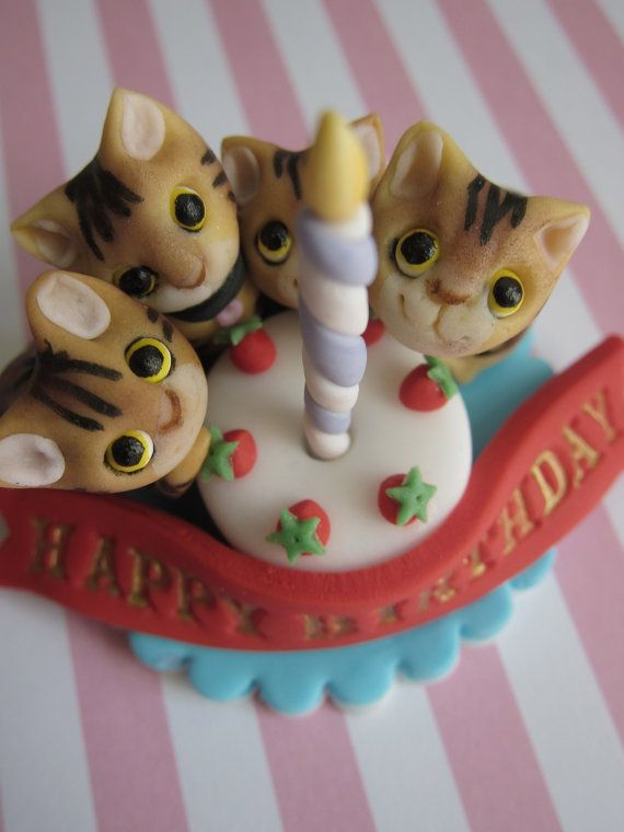 Kittens & Candle Cake Birthday Topper by mimicafeunion on Etsy, $25.00