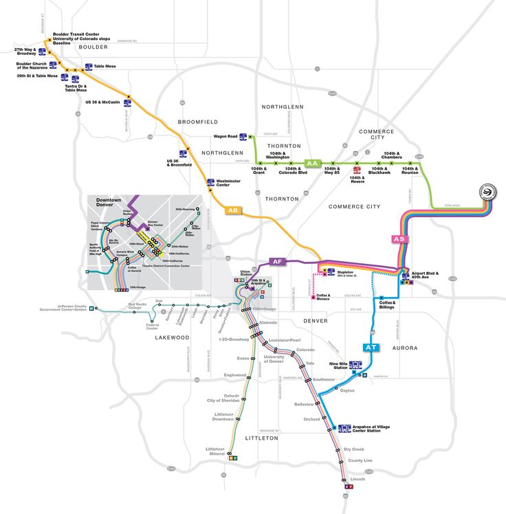 RTD | SkyRide - How to: To be brought from DIA to Downtown Denver, take the AF bus (the fare is $9, $11, or $13- depending where you pick up the bus and they don't give change so be sure to have exact amount). They will drop you off at Market Street Station. If you're staying in a hotel Downtown you'll then be able to pick up the 16th Street Mall Free Mall Ride to get closer to your hotel.